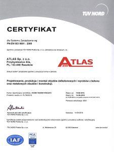 Polityka jakości - Certyfikat ISO 9001